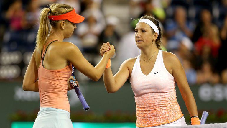 Виктория АЗАРЕНКО (справа) и Мария ШАРАПОВА. Фото AFP