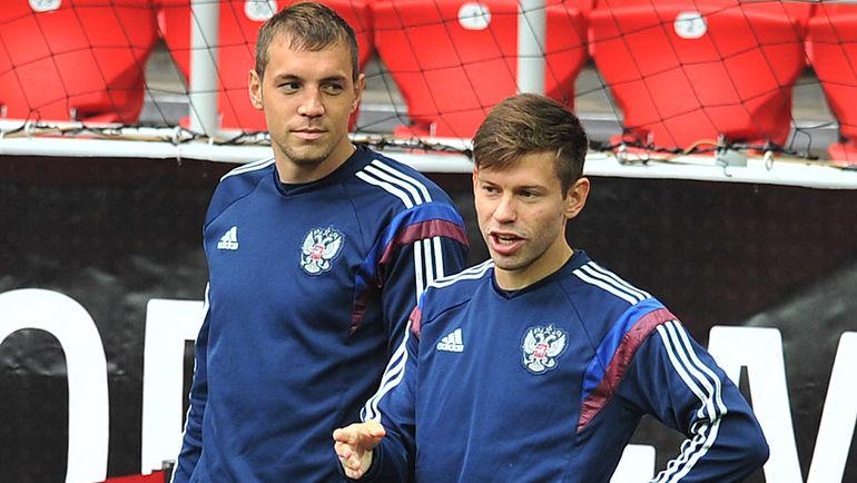"""Федор СМОЛОВ (справа) и Артем ДЗЮБА. Фото Алексей ИВАНОВ, """"СЭ"""""""