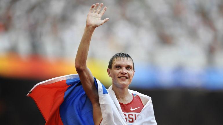 22 августа 2008 года. Только что российский ходок Денис НИЖЕГОРОДОВ завоевал бронзу Олимпийских игр на дистанции 50 км. Фото AFP