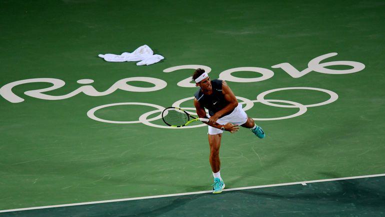 Рафаэль НАДАЛЬ на тренировке в Рио-де-Жанейро. Фото AFP
