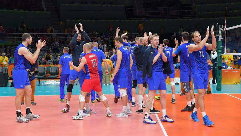 Четверг. Рио-де-Жанейро. Россия - Египет - 3:0. Россия празднует победу. Фото FIVB