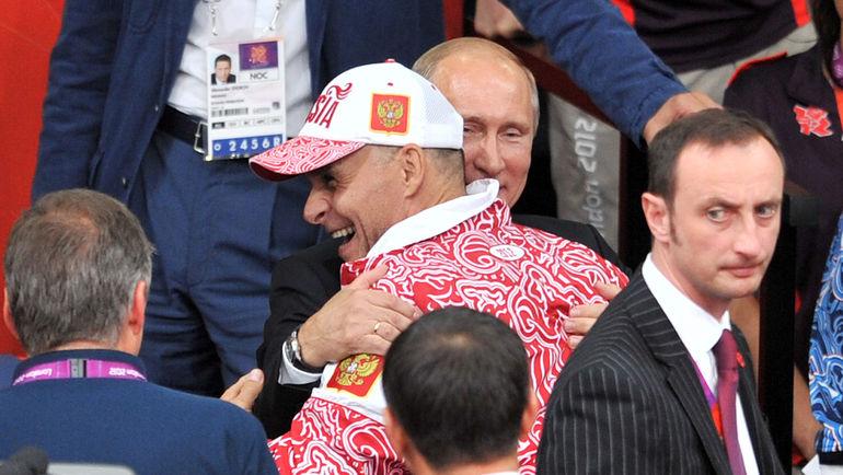"Эцио ГАМБА и Владимир ПУТИН на Олимпиаде в Лондоне. Фото Алексей ИВАНОВ, ""СЭ"""