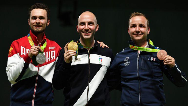 Сергей КАМЕНСКИЙ (слева), Никколо КАМПРИАНИ (в центре) и француз Алексис РАЙНО, взявший бронзу. Фото REUTERS