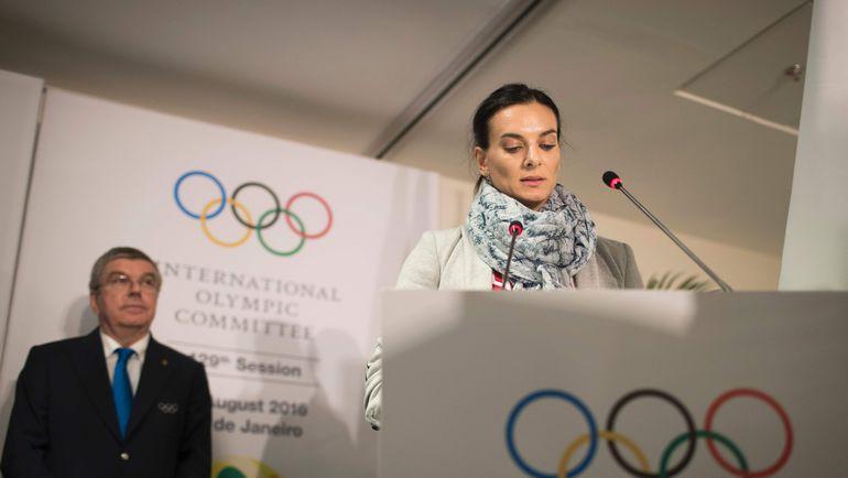 Глава МОК Томас БАХ и Елена ИСИНБАЕВА, не допущенная до стартов в Рио из-за дисквалификации ВФЛА. Фото AFP