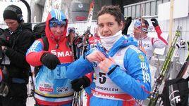 16 марта 2013 года. Хоменколлен. Рето БУРГЕРМАЙСТЕР (слева) и Илья ЧЕРНОУСОВ на этапе Кубка мира.