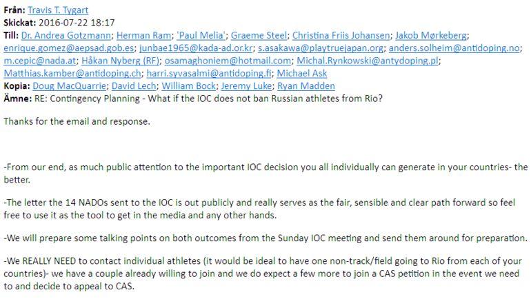 Письмо Трэвиса Тайгерта в 14 национальных олимпийских комитетов. Фото fancybears.net