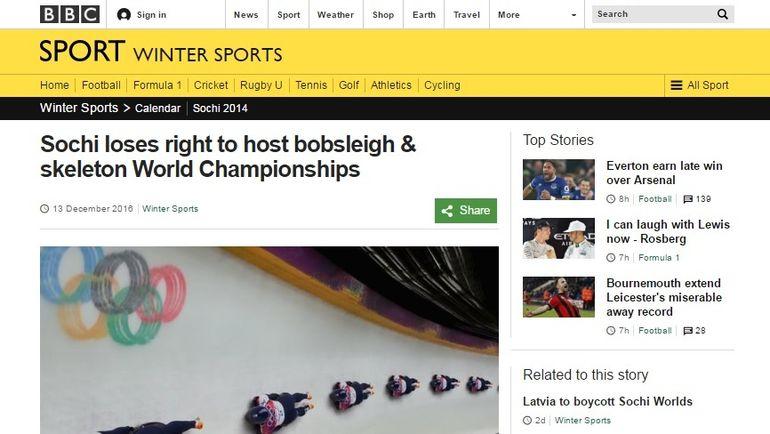Федерация бобслеяРФ дала согласие срешением опереносе чемпионата мира изСочи