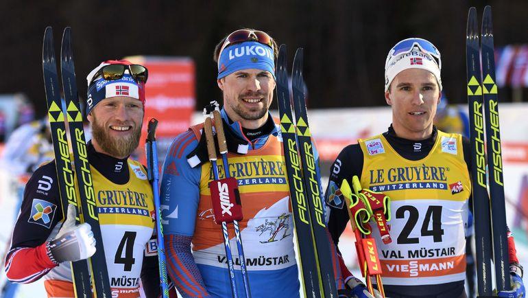 Мартин Йонсруд СУНДБЮ, Сергей УСТЮГОВ и Дидрик ТОНСЕТ (слева направо). Фото AFP