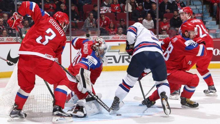 Сегодня. Монреаль. США - Россия - 4:3 Б. Российская команда в обороне. Фото Официальный сайт турнира