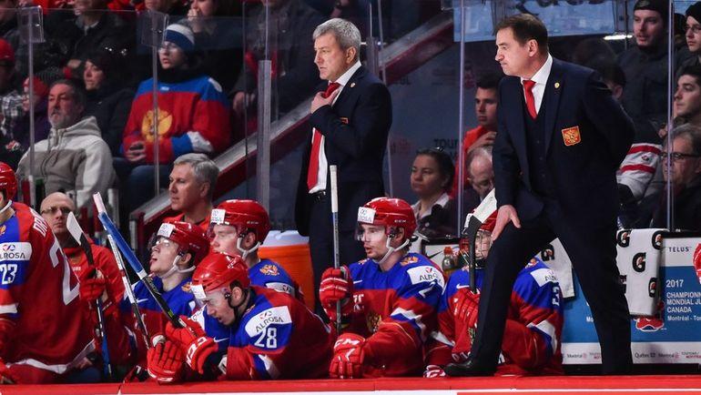 Сегодня. Монреаль. Швеция - Россия - 1:2 ОТ. Скамейка российской команды. Валерий БРАГИН - справа. Фото AFP