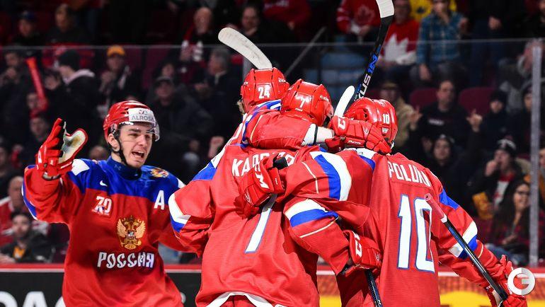 Сегодня. Монреаль. Швеция - Россия - 1:2 ОТ. Игроки сборной России радуются первому забитому голу. Фото AFP