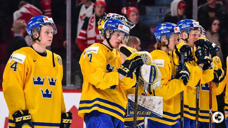 Сегодня. Монреаль. Швеция - Россия - 1:2 ОТ. Игроки сборной Швеции. Фото AFP