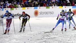Сегодня. Лахти. Наталья МАТВЕЕВА (слева) - на дистанции.