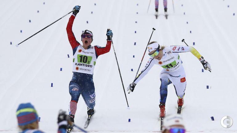 Сегодня. Лахти. Финишные кадры женского командного спринта. Фото REUTERS