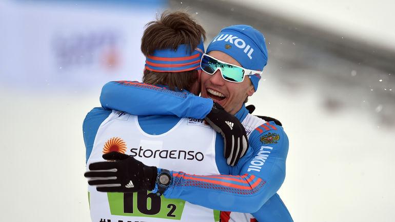 Сегодня. Лахти. Никита КРЮКОВ (справа) Сергей УСТЮГОВ. Фото AFP