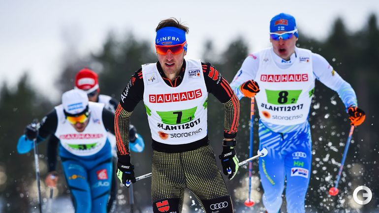 Сегодня. Лахти. Йонас ДОБЛЕР (в центре) и Иво НИСКАНЕН (справа). Фото AFP