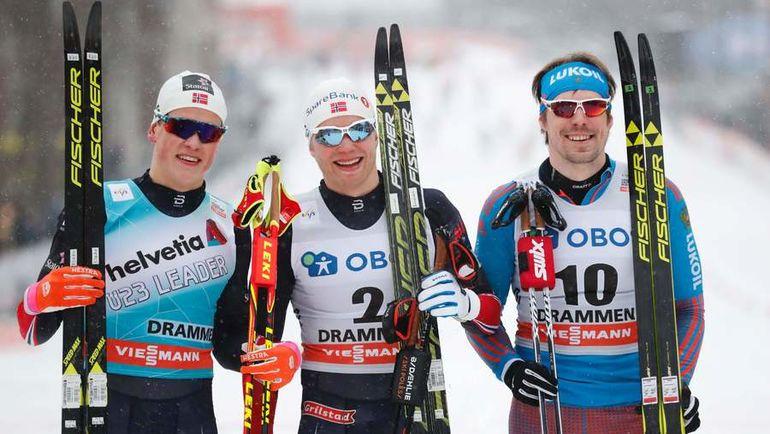Йоханнес КЛЕБО, Эйрик БРАНСДАЛЬ и Сергей УСТЮГОВ. Фото AFP