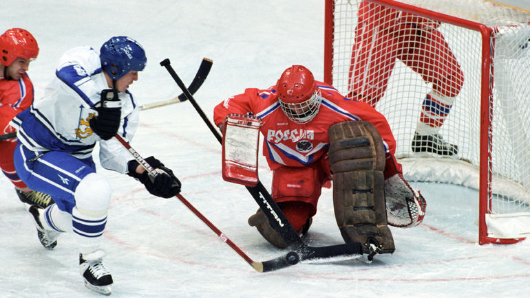 Команда Виктора ТИХОНОВА в Лиллехаммере в матче с Финляндией. Фото REUTERS