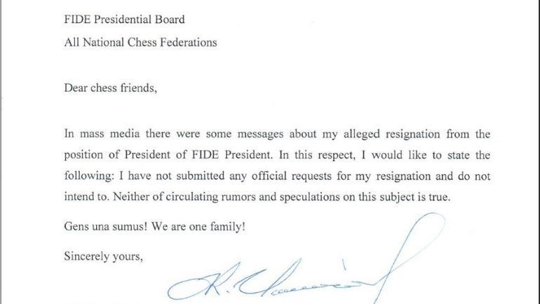 Письмо, направленное Илюмжиновым Президентскому совету ФИДЕ и всем национальным шахматным федерациям. Фото ТАСС