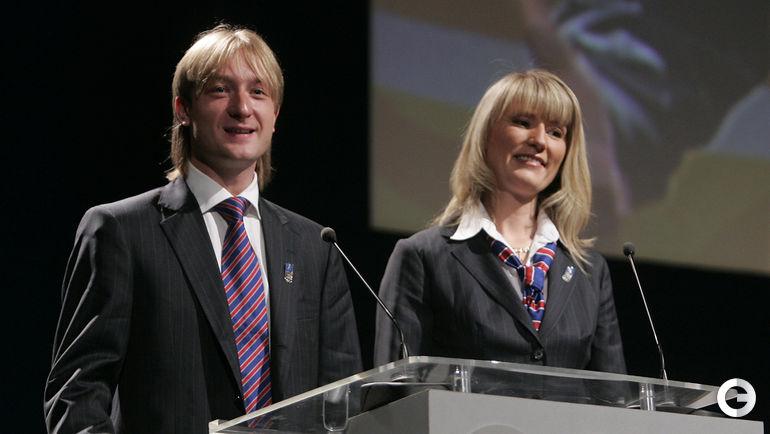 2007 год.  Евгений ПЛЮЩЕНКО (слева) и Светлана ЖУРОВА. Фото AFP