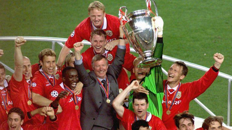 "26 мая 1999 года. Барселона. ""Манчестер Юнайтед"" - ""Бавария"" - 2:1. Игроки ""МЮ"" празднуют победу. Фото AFP"
