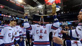 Вчера. Металлург. Хоккеисты СКА празднуют победу в финальной серии Кубка Гагарина.