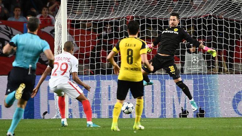 "Среда. Монако. ""Монако"" - ""Боруссия"" Д - 3:1. 3-я минута. Кильян МБАППЕ открывает счет. Фото AFP"