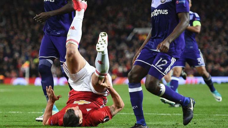 """Вчера. Манчестер. """"Манчестер Юнайтед"""" - """"Андерлехт"""" - 2:1 д.в. Златан ИБРАГИМОВИЧ получает серьезную травму. Фото AFP"""