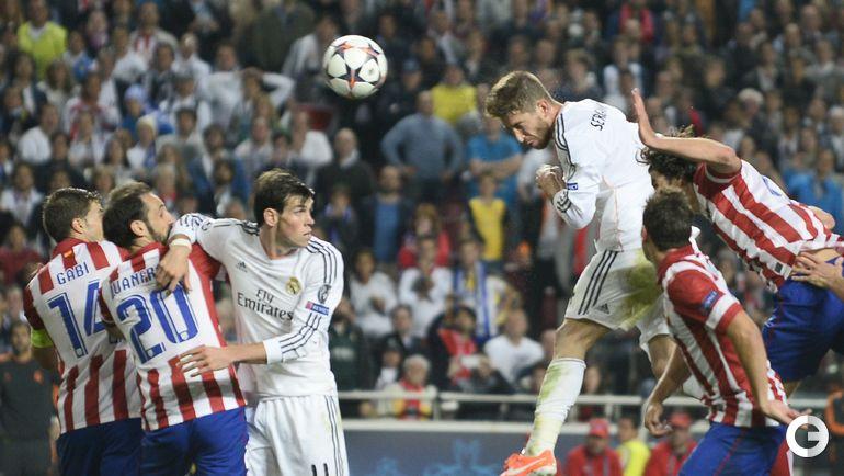 """24 мая 2014 года. Лиссабон. """"Реал"""" - """"Атлетико"""" - 4:1 д.в. 90+3-я минута. СЕРХИО РАМОС сравнивает счет. Фото AFP"""