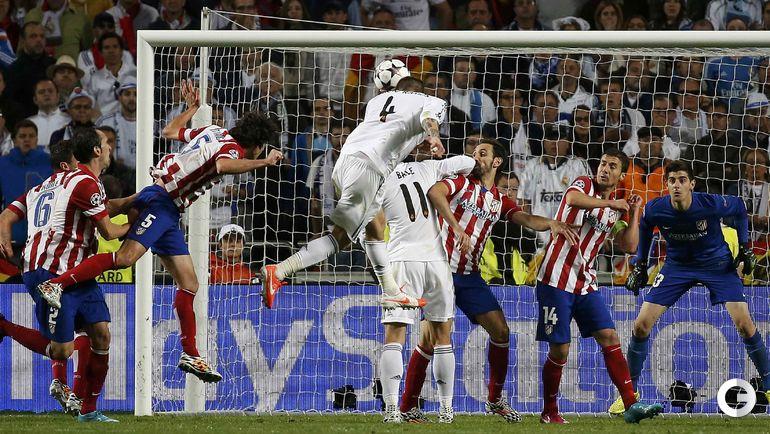 """24 мая 2014 года. Лиссабон. """"Реал"""" - """"Атлетико"""" - 4:1 д.в. СЕРХИО РАМОС сравнивает счет. Фото AFP"""