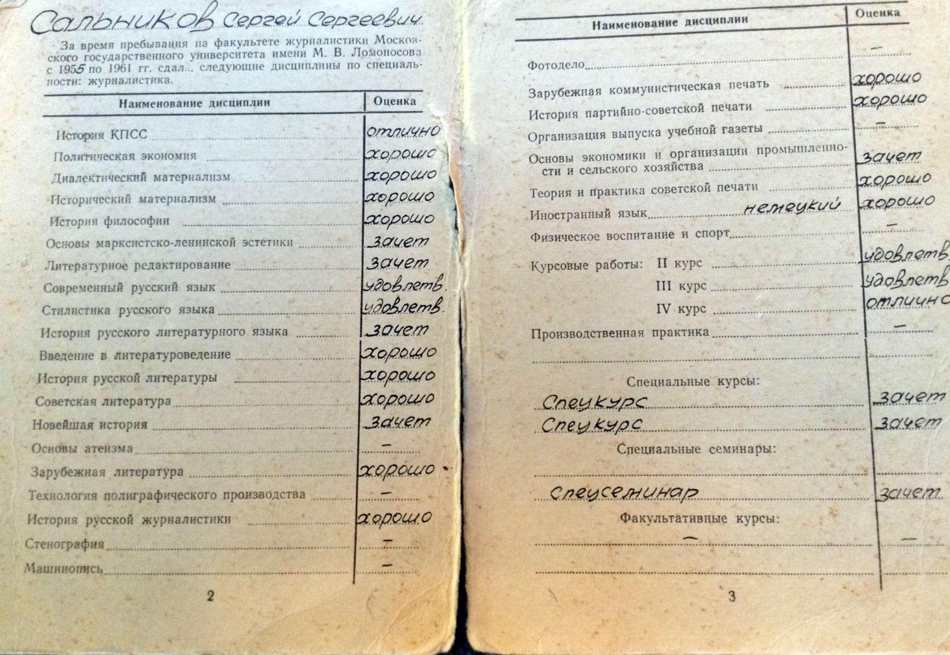 Диплом Сергея Сальникова об окончании журфака МГУ