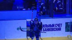 Удаление. Костицын Сергей (Динамо Мн) за опасную игру высоко поднятой клюшкой.