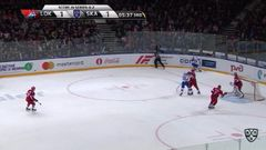 Удаление. Дмитрий Лугин (Локомотив) оштрафован на 2 минуты за опасную игру высоко поднятой клюшкой