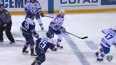 Удаление. Ковальчук Илья (СКА) за атаку в область головы и шеи.
