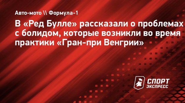 В «Ред Булле» рассказали опроблемах сболидом, которые возникли вовремя практики «Гран-при Венгрии»