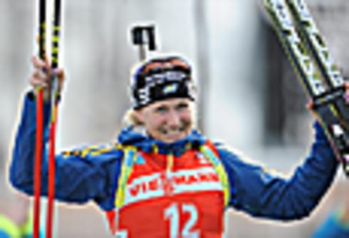 Хелена Экхольм. Индивидуальная гонка 15 км. Чемпионат мира - 2012г. Рупольдинг (Германия). Фото AFP.