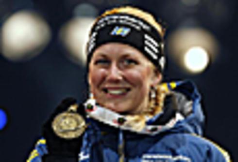 7 марта 2012 года. Чемпионат мира в Рупольдинге. Хелена Экхольм завоевывает бронзу. Фото REUTERS
