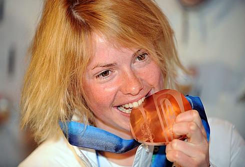 13 февраля 2010 года. Уистлер. Мари Дорен - бронзовая медалистка зимних Олимпийских игр. Фото AFP