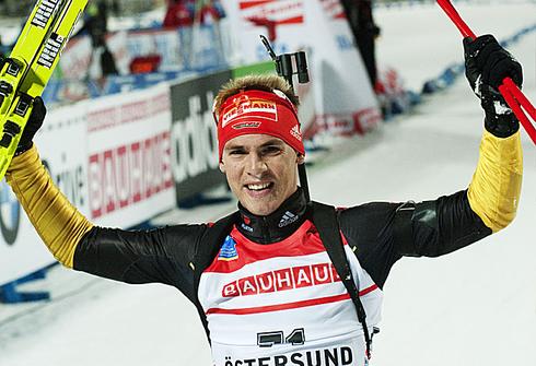 Симон Шемп. Индивидуальная гонка 20км. Кубка мира - 2011. Эстерсунд (Швеция). 30 ноября 2011 г. Фото AFP.
