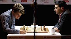 Действующий чемпион мира Вишванатан АНАНД (справа) и лидер мирового рейтинга Магнус КАРЛСЕН определят обладателя шахматной короны. Фото Reuters
