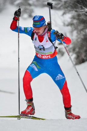 Биатлонистка сборной России Екатерина ГЛАЗЫРИНА. Фото AFP