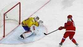 Сегодня. Кельн. Швеция - Россия - 1:2 Б. Артемий ПАНАРИН реализовывает победный буллит в ворота Виктора ФАСТА.