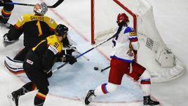 Сегодня. Кельн. Германия – Россия – 3:6. Никита КУЧЕРОВ (86) отправляет шайбу в ворота Томаса ГРАЙССА.