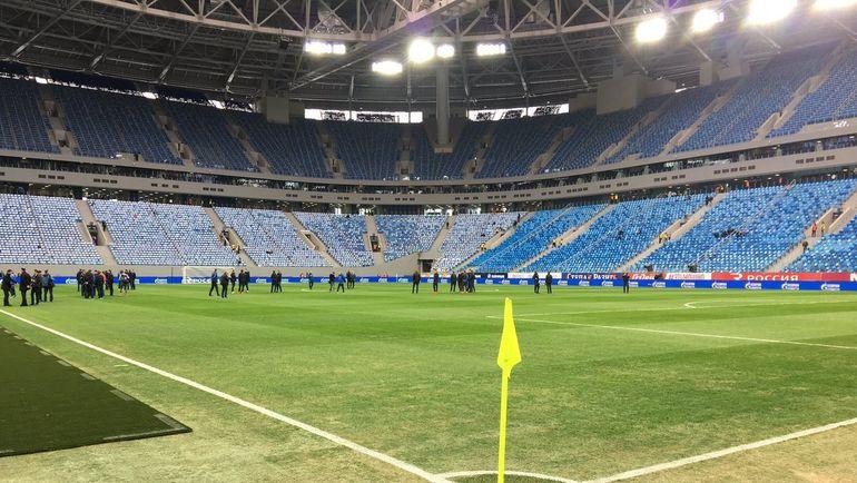 """Газон стадиона в Санкт-Петербурге. Фото Гоша ЧЕРНОВ, """"СЭ"""""""