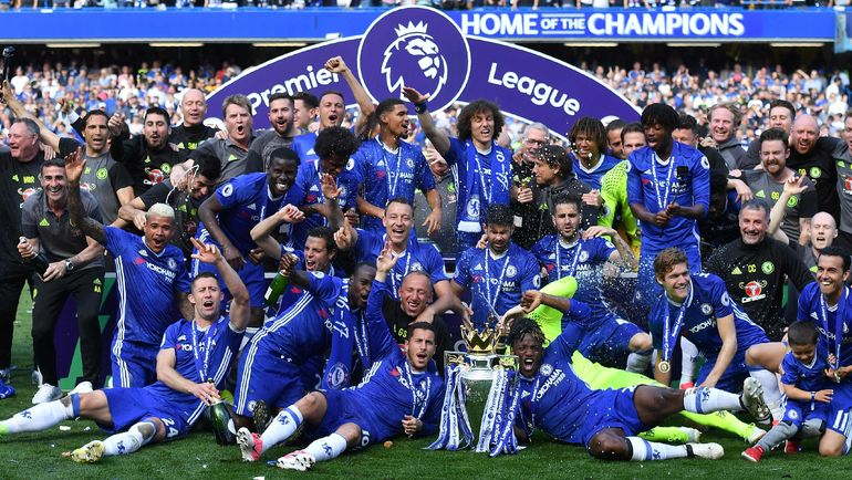 """Игроки """"Челси"""" празднуют чемпионство. Фото AFP"""
