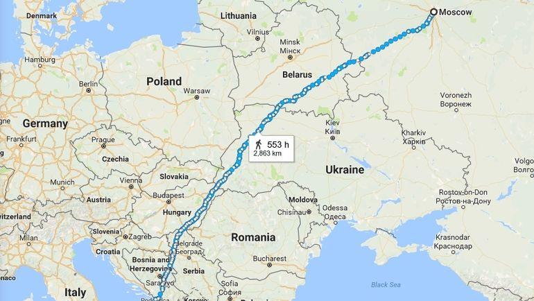 Путь от Москвы до Неаполя.