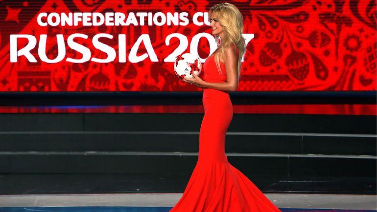 Виктория ЛОПЫРЕВА на жеребьевке Кубка конфедераций-2017. Фото AFP