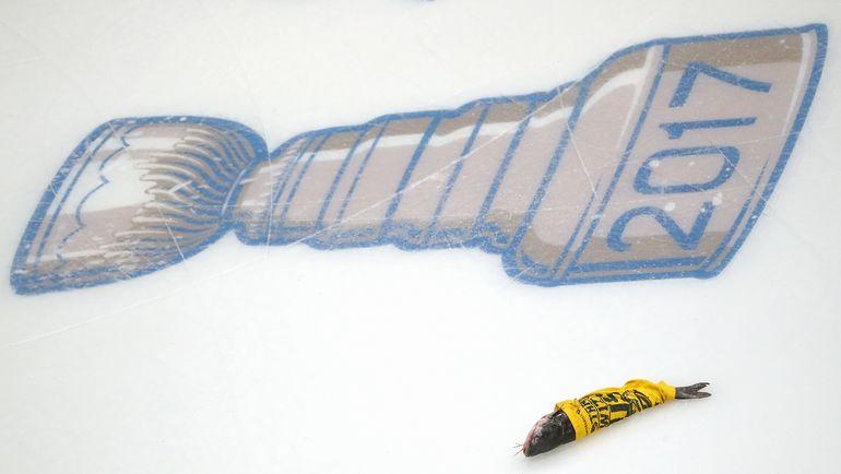 """Суббота. Нэшвилл. """"Нэшвилл"""" - """"Питтсбург"""" - 5:1. Болельщики """"Прэдаторз"""" не изменили традиции выбрасывать сома на лед. Фото AFP"""
