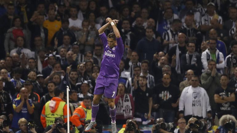 """Суббота. Кардифф. """"Ювентус"""" - """"Реал"""" - 1:4. 20-я минута. КРИШТИАНУ РОНАЛДУ празднует гол. Фото AFP"""