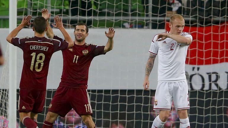 18 ноября 2014 года. Будапешт. Венгрия - Россия - 1:2. Александр КЕРЖАКОВ празднует гол в ворота соперника. Фото Reuters